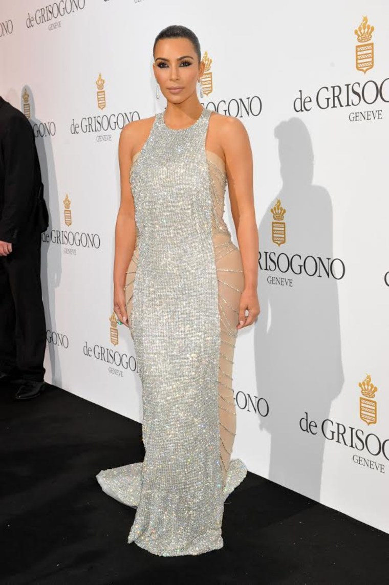 Kim Kardashian West wears a Lan Yu design at the Grisogono party in Cannes, France.