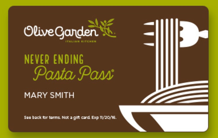 Olive Garden 'Unlimited Pasta Pass.'