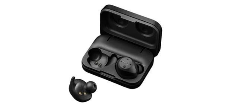 Jabra Elite Sport earbuds are sweatproof and waterproof, and they come with a carrying case with a built-in rechargeable battery.