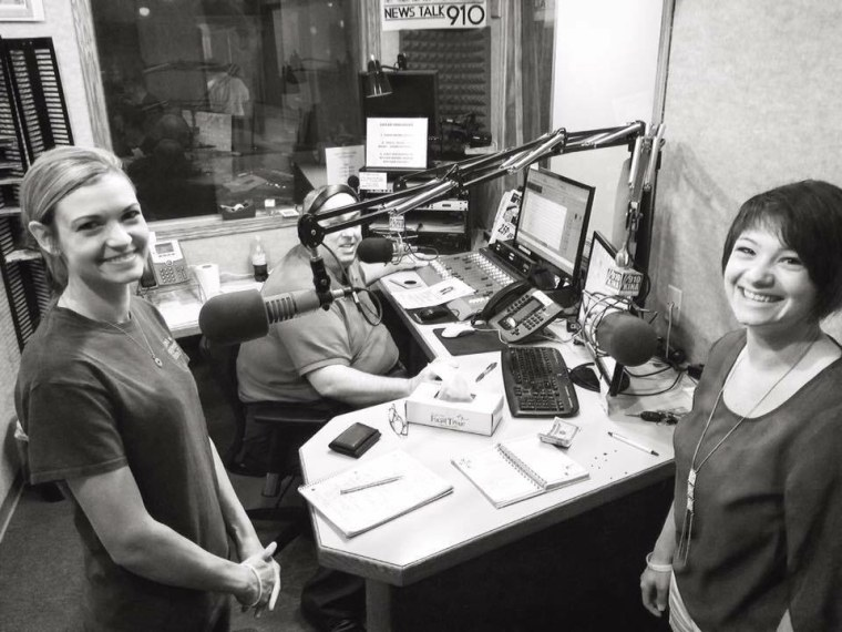 Lori's daughters Genell and Joni visiting a local radio station to discuss their mom's case.