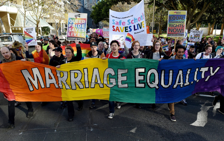 Image: Gay marriage supporters march in Sydney