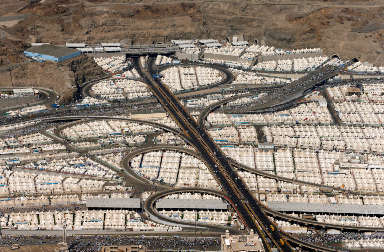 Image: An aerial view of the tents of Muslim pilgrims on the second day of Eid al-Adha in Mina, near the holy city of Mecca, during the annual haj pilgrimage