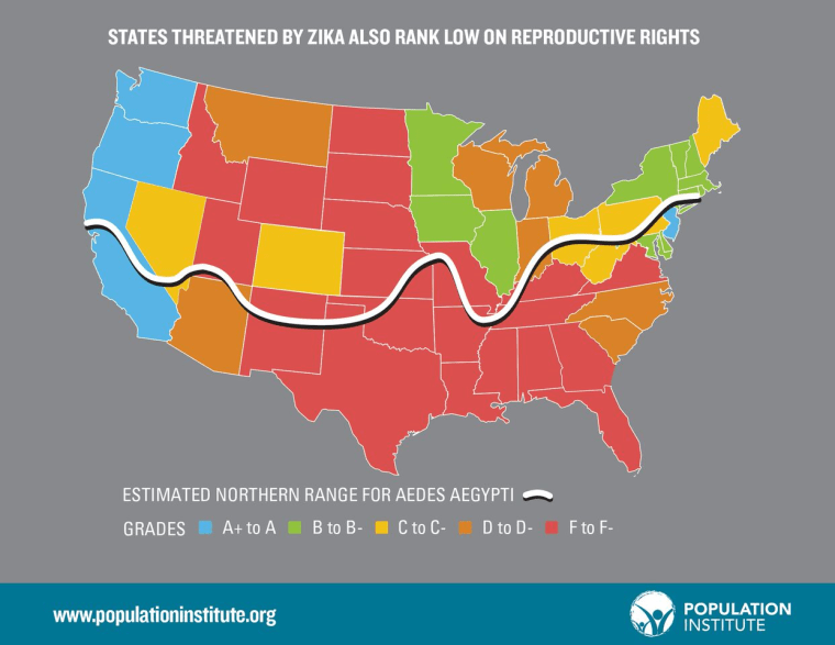 A new report from the Population Institute looks at how states potentially affected by Zika rank on reproductive health and rights
