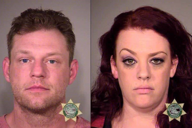 Russell Orlando Courtier, 38, left, and Colleen Hunt, 35, right, have pleaded not guilty to charges related to the death of Larnell Malik Bruce in Gresham, Oregon, on Aug. 10, 2017.