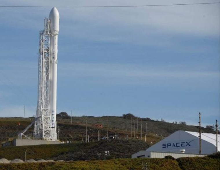 A SpaceX Falcon 9 rocket with the Jason-3 spacecraft onboard is shown at Vandenberg Air Force Base Space Launch Complex 4 East in Vandenberg Air Force Base California