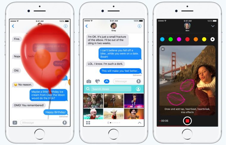 Image: New iMessage features in iOS 10