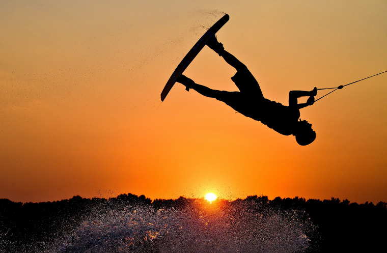 Image: A wakeboarder enjoys the Summer evening