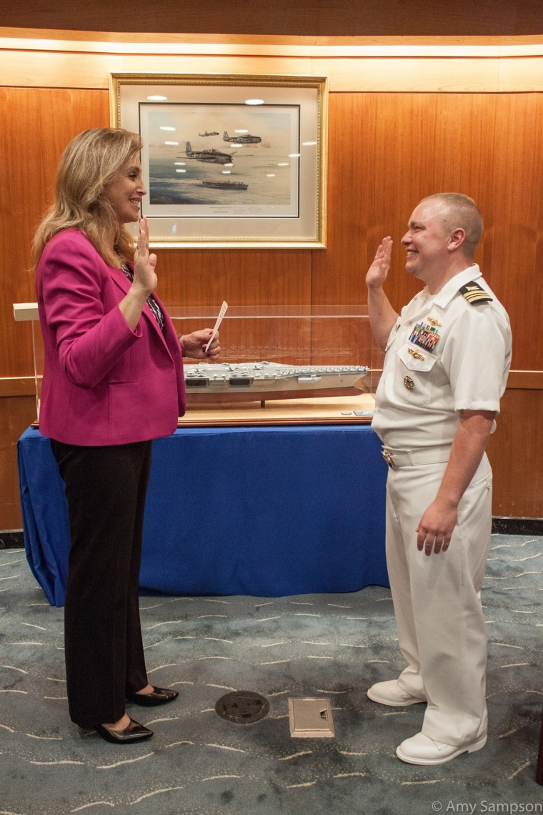 Deputy Assistant Secretary of Defense for Operational Energy Amanda Simpson (left) and Navy Lt. Cdr. Blake Dremann  (right)