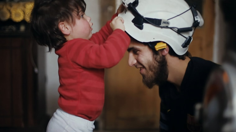 Image: A Netflix documentary follows the White Helmets, a group of volunteer rescue workers in Syria.