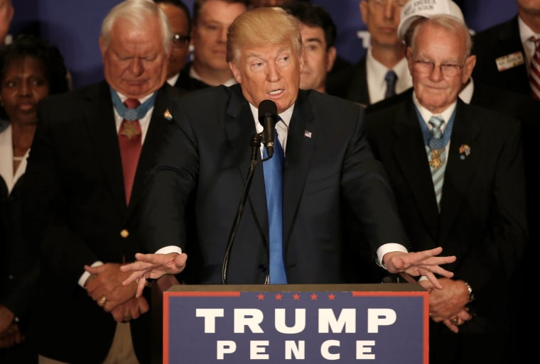 Image: Republican presidential nominee Trump delivers remarks at campaign event at the Trump International Hotel in Washington
