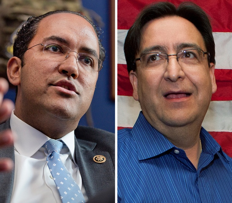 Texas Reps. Will Hurd, left, and Pete Gallego