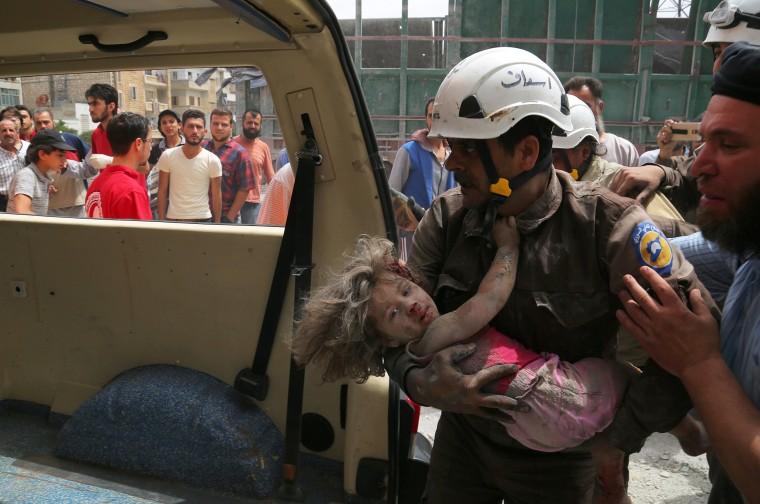 Image: Airstrike Hits Rebel-Controlled Idlib, Syria
