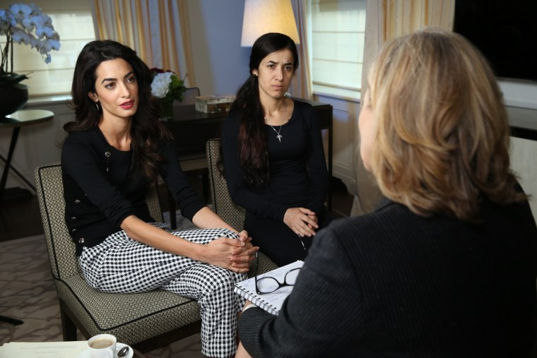 Image: Amal Clooney and Nadia Murad speak to NBC News' Cynthia McFadden