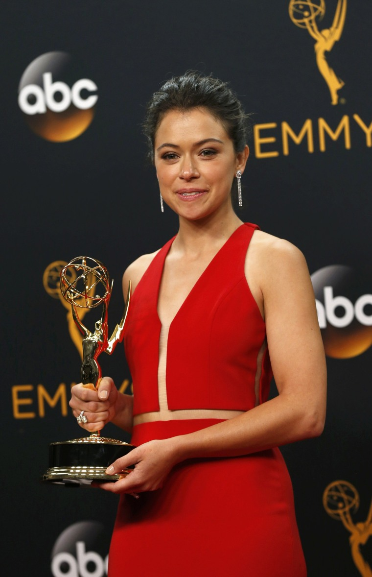 Image: Actress Tatiana Maslany poses backstage with her award  at the 68th Primetime Emmy Awards in Los Angeles