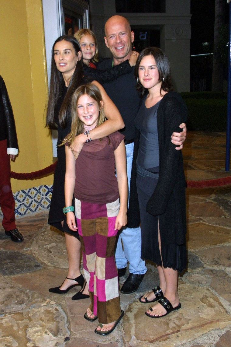 Demi Moore and Bruce Willis with their daughters