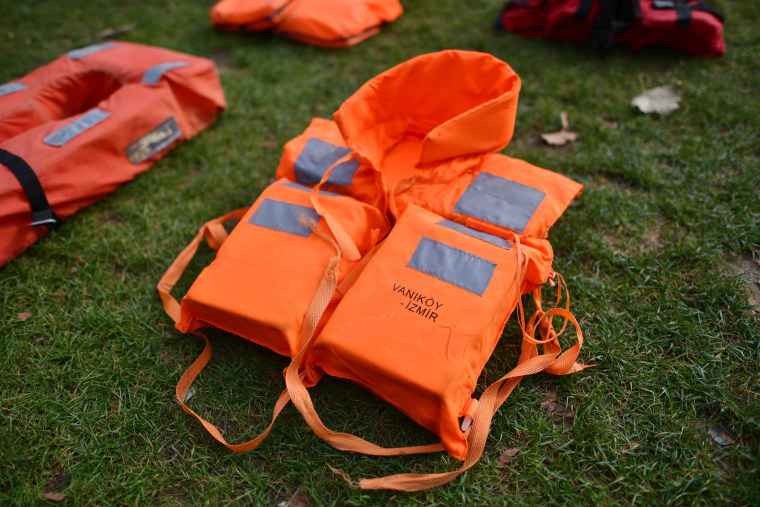 """Image: Protestors Create A """"Graveyard Of Lifejackets"""" To Coincide With The UN Migration Summit"""