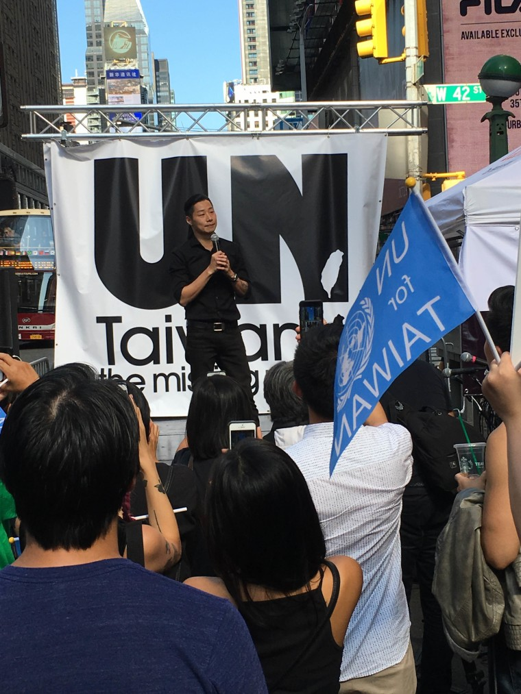 """Taiwanese politician Freddy Lim, 40, tells the crowd near Times Square that he hopes """"all our friends around the world keep supporting Taiwan to finish our journey to freedom"""" during a rally for the inclusion of Taiwan in the United Nations."""