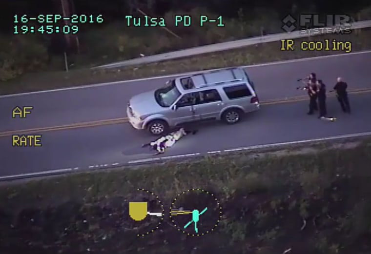 Helicopter view of the officer involved shooting of Terence Crutcher.