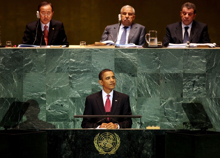 Image: United States President Barack Obama delivers his first address to the United Nations General Assembly in 2009
