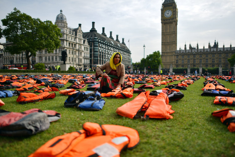"Image: Protestors Create A ""Graveyard Of Lifejackets\"" To Coincide With The UN Migration Summit"