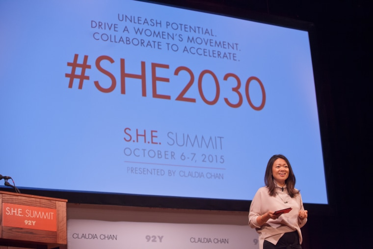 Claudia Chan speaking at the 2015 S.H.E Summit on Oct. 6 and 7, 2015, in New York, NY.