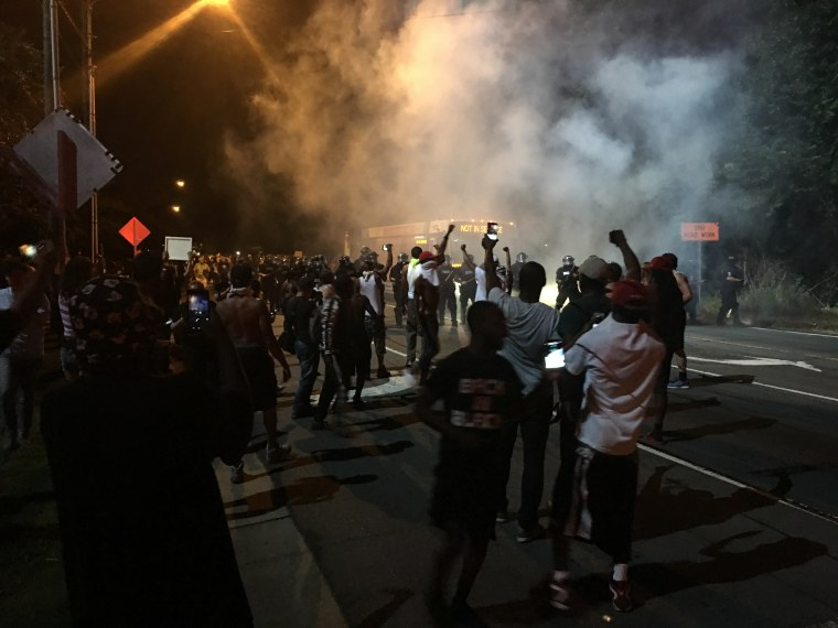 Image: Protesters demonstrate in Charlotte, N.C.