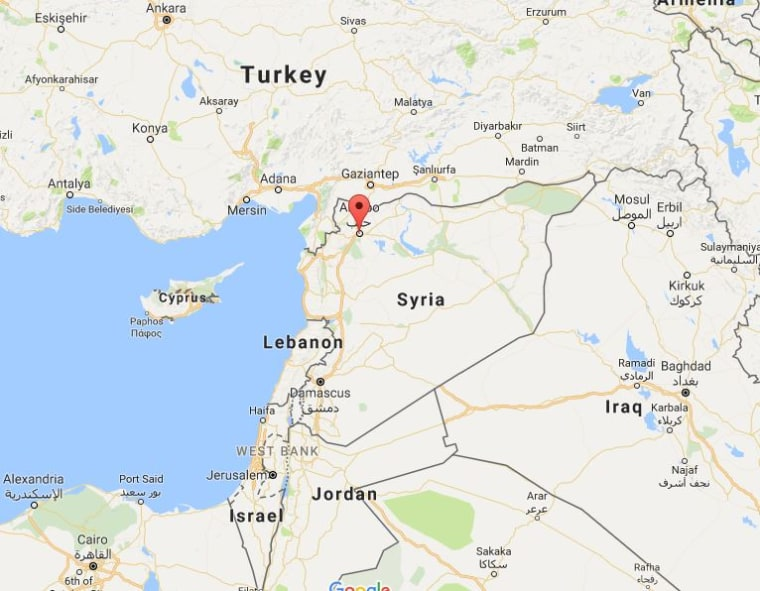 Image: Map showing location of Aleppo, Syria