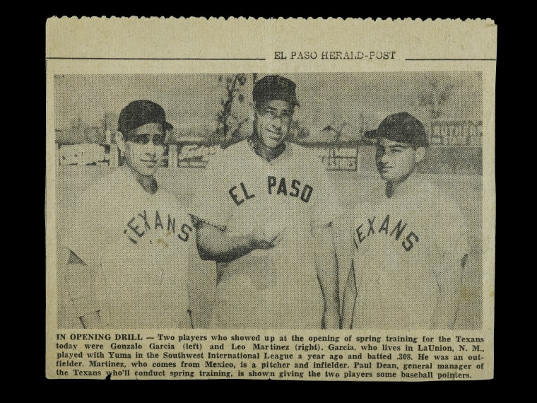 Newspaper clipping from the El Paso-Herald Post featuring Leo Martinez on the right.