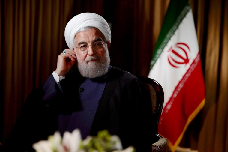 Image: Iranian President Hassan Rouhani sits down for an interview with NBC News