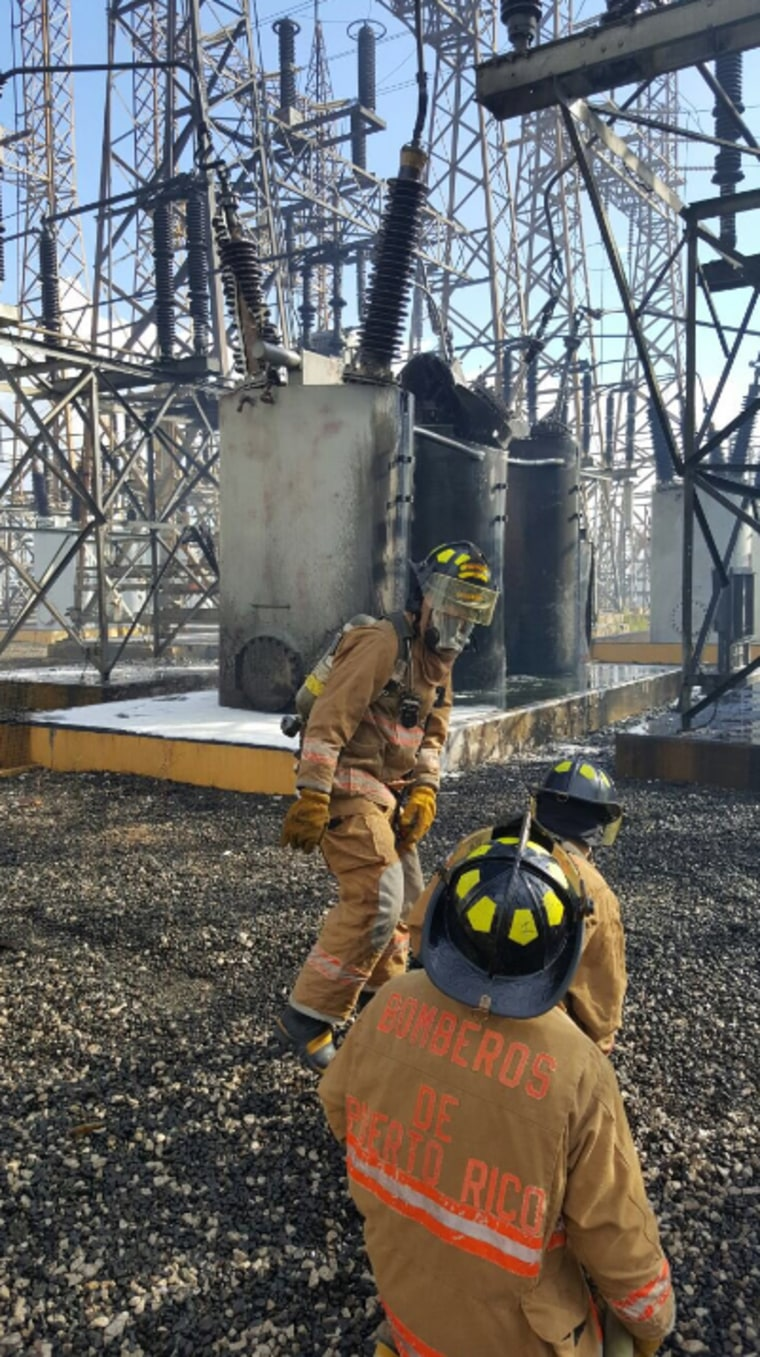 Photo of firefighters at the power plant fire in Salinas.