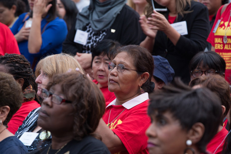 Women attend a We Won't Wait summit in Washington, D.C., on Monday.