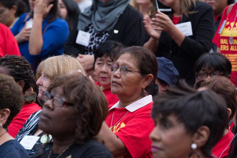 Women attend a We Won't Wait summit in Washington, D.C., on Monday.