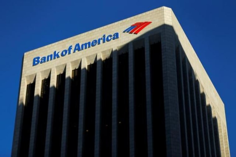 The Bank of America building is shown in Los Angeles, California