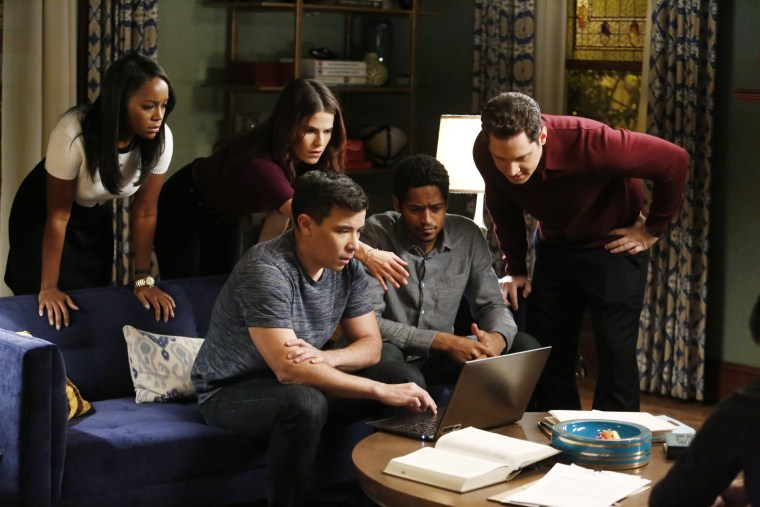 "Aja Naomi King, Karla Souza, Conrad Ricamora, Alfred Enoch and Matt McGorry in ""How to Get Away with Murder"" episode ""Anna Mae."""