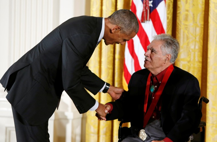 U.S. President Barack Obama awards the 2015 National Humanities Medal to author Anaya at the White House in Washington