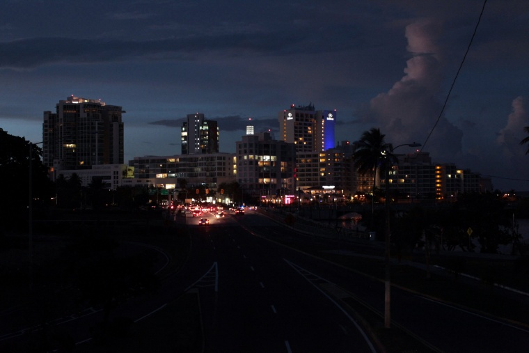 Image: A general view of a blackout during a power outage across several areas in the country, in San Juan, Puerto Rico