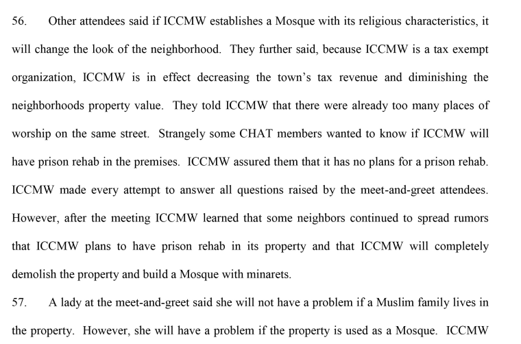 An excerpt of court documents detailing a meet-and-greet concerning a potential mosque in the city of Yonkers.