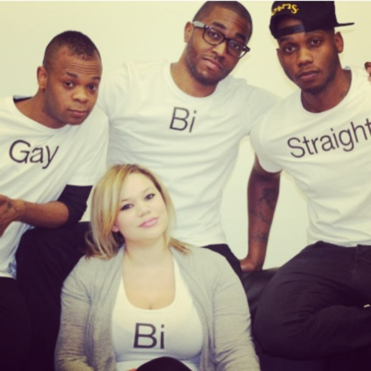 """David J. Cork (top row, middle) and the cast of the web series """"Bi."""""""
