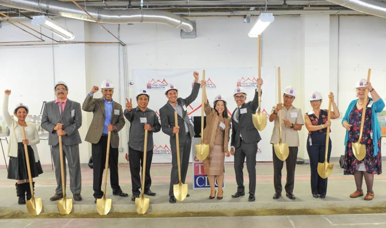 Thai CDC staffers celebrate the groundbreaking ceremony of the Thai Town Marketplace scheduled to open in 2017. The ceremony took place on Thursday, Sept. 22, in East Hollywood.