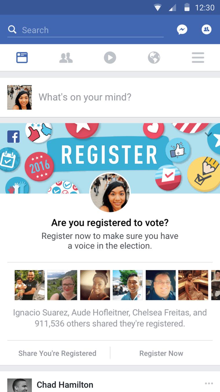 Facebook voter registration campaign.