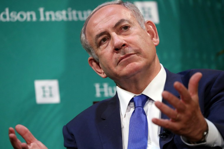 Image: Israeli Prime Minister Benjamin Netanyahu delivers remarks at the Hudson Institute's Herman Kahn Award Ceremony at the Plaza Hotel in Manhattan, New York, U.S.
