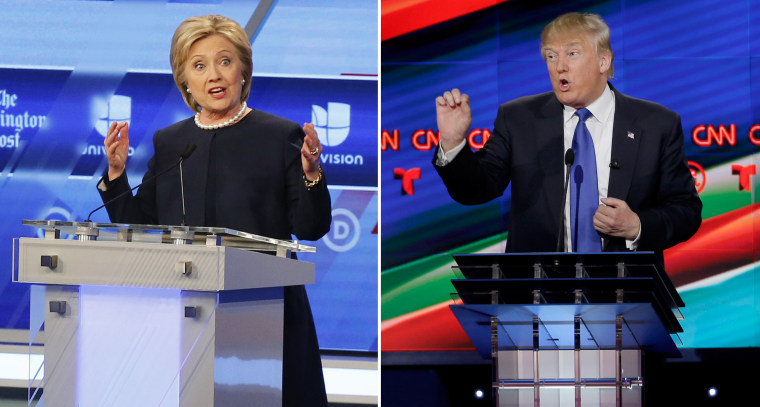 Hillary Clinton speaks during the Univision, Washington Post Democratic presidential debate at Miami-Dade College,  March 9, 2016. Donald Trump speaks during a Republican presidential primary debate at The University of Houston, Feb. 25, 2016, in Houston.