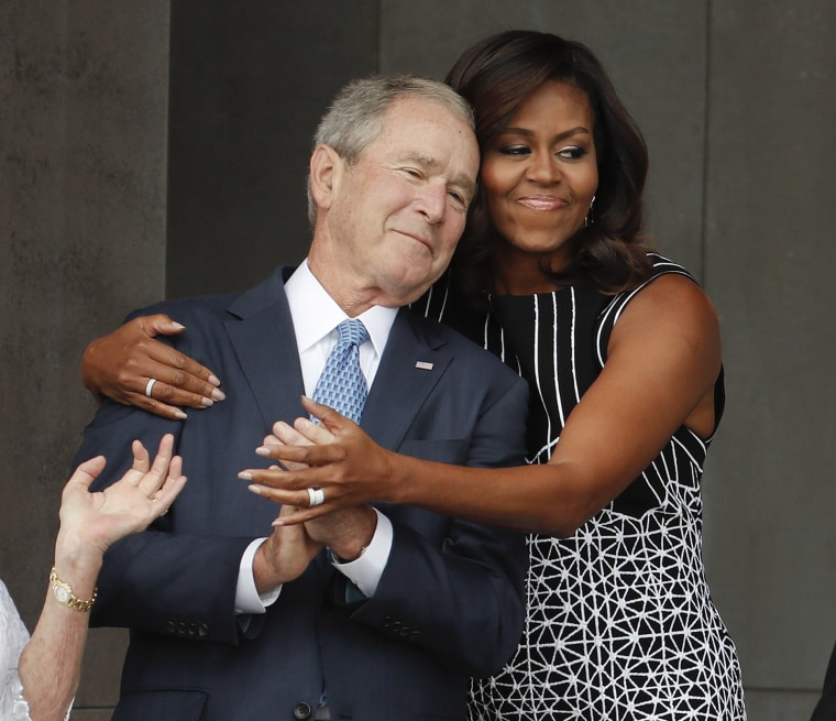 Image: Michelle Obama, George W. Bush