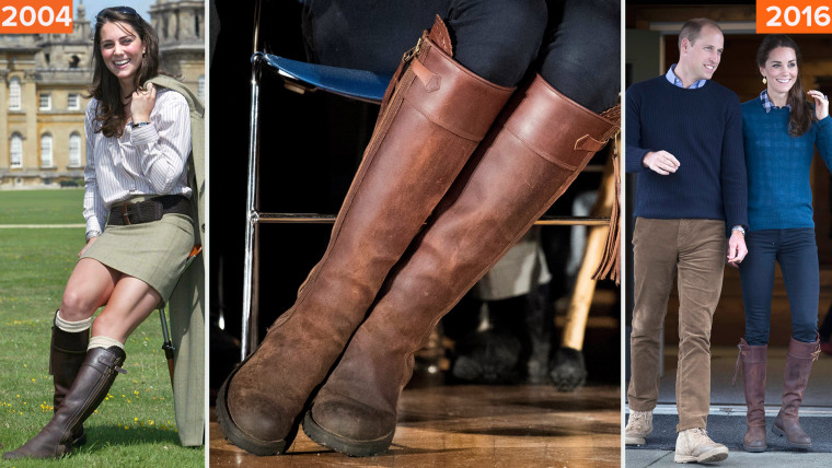 Duchess Kate's boots in 2004 and 2016