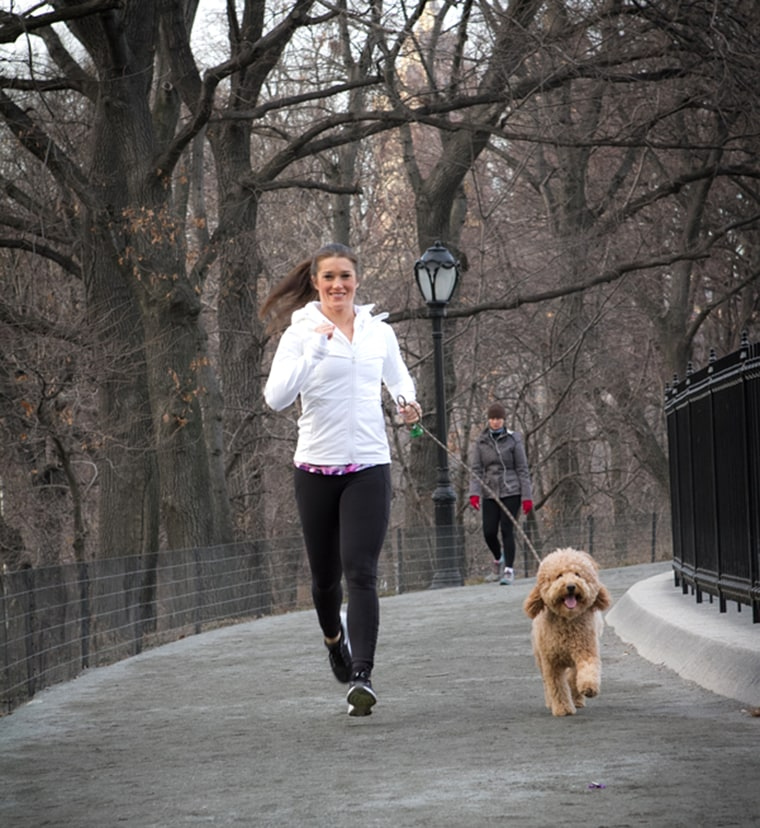 Rebecca Alexander Running in the park with Monkey