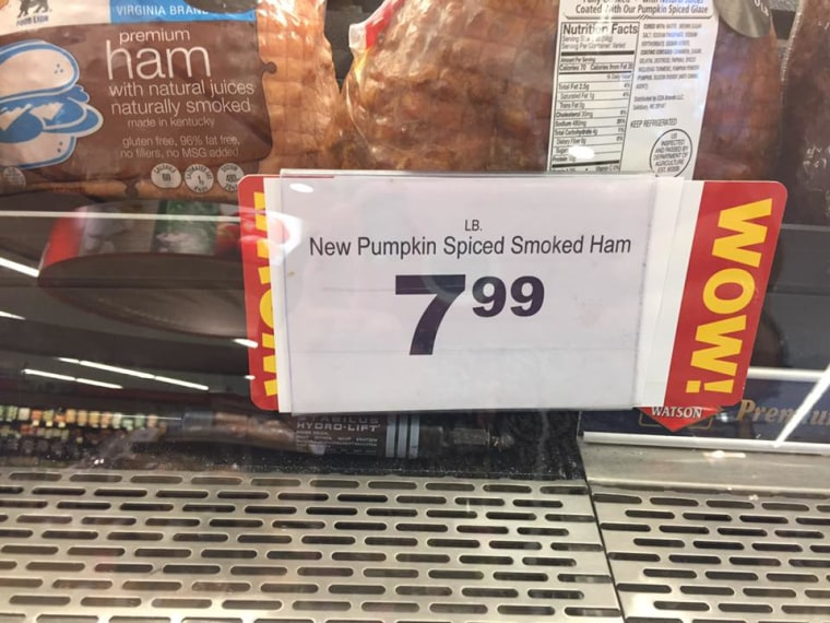 Pumpkin spiced smoked ham spotted at a grocery store in Maryland.