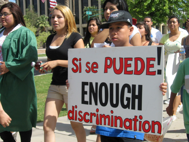 Students protest SB 1070 in Arizona in 2010.