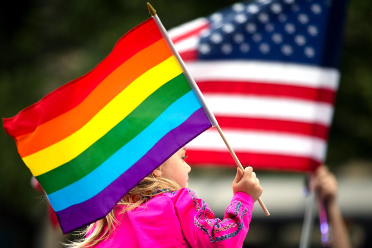 A Pride participant holds a rainbow flag.