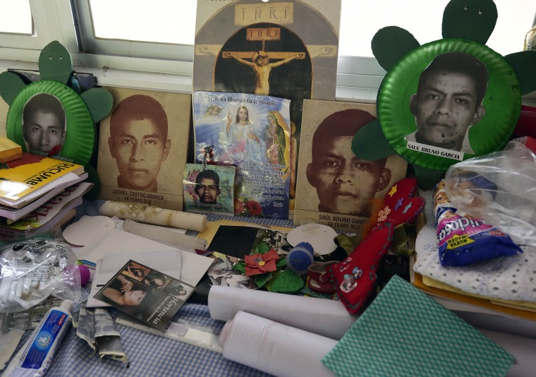 View of the altar made for her son by Nicanora Garcia, mother of missing student Saul Bruno Garcia