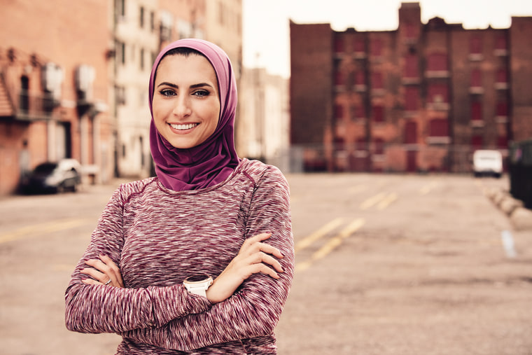 A picture of Rahaf Khatib, founder of Run Like a Hijabi from the October 2016 issue of Women's Running Magazine.